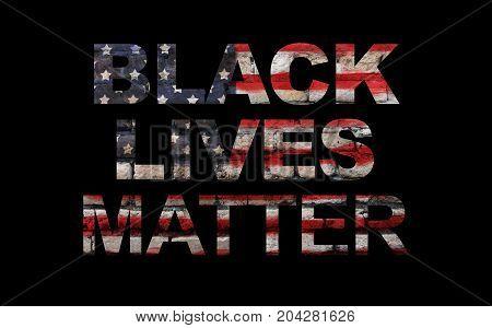 Black lives matter slogan on American flag black background
