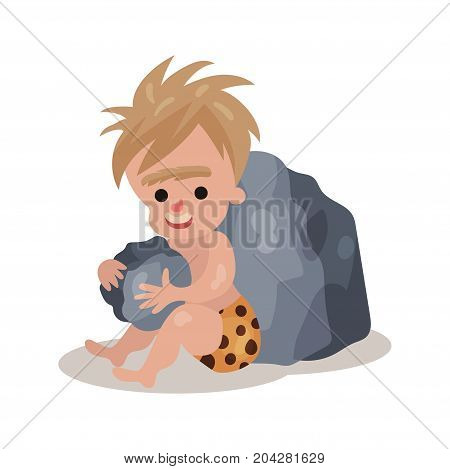 Stone age cave boy sitting and playing stones, colorful vector illustration on a white background