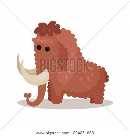 Mammoth, prehistoric extinct animal colorful vector illustration on a white background