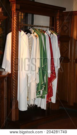 Dresses For Dressing Priests In The Sacristy Of An Ancient Chris