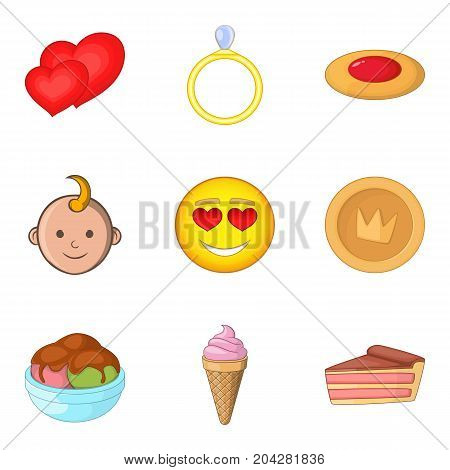 Baby party icons set. Cartoon set of 9 baby party vector icons for web isolated on white background