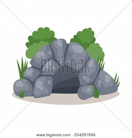 Stone cave, cavemans dwelling colorful vector Illustration on a white background