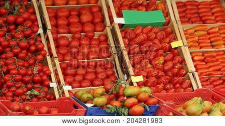 Ripe Red Tomato  On Sale In The Grocery Store In A Mediterranean