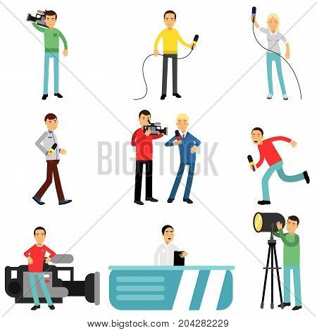 Journalists at work set, reporters and cameramen shooting and interviewing people creating tv broadcast vector Illustrations on a white background