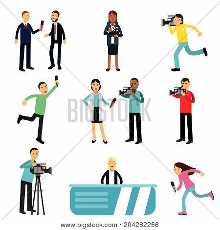 Reporters and cameramen shooting and interviewing people creating tv broadcast, journalists at work set vector Illustrations on a white background