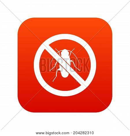 No cockroach sign icon digital red for any design isolated on white vector illustration