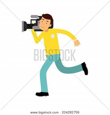 Cameraman character running with a professional camera on his shoulder vector Illustration on a white background