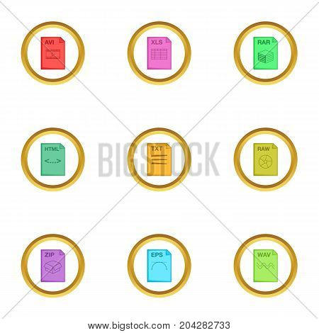 Document format icons set. Cartoon style set of 9 document format vector icons for web design