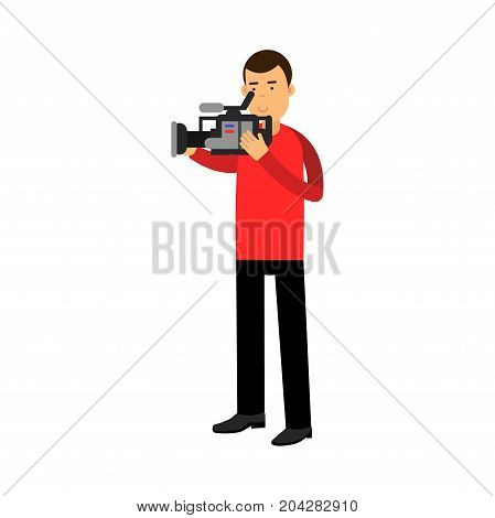 Cameraman character looking through a professional camera vector Illustration on a white background