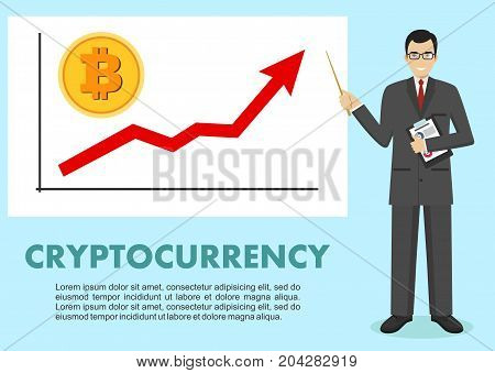 Businessman and graph with trend line rising up and coin with a sign of bitcoin in flat style isolated. Bitcoin sign, digital currency, cryptocurrency, electronic money. Cryptocurrency concept. Bitcoin mining, exchange, mobile banking.