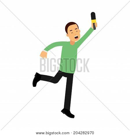 Male reporter character runnung with a raised microphone, journalist doing report vector Illustration on a white background