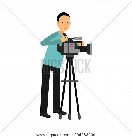 Cameraman character looking through a movie camera on a tripod vector Illustration on a white background