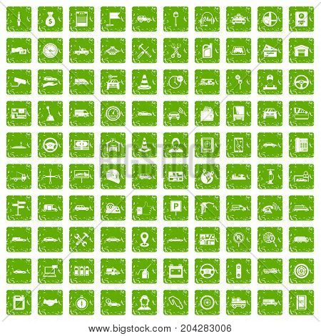 100 auto icons set in grunge style green color isolated on white background vector illustration