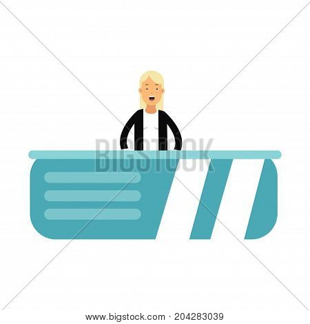 Anchor woman character telling daily news In the television studio vector Illustration on a white background