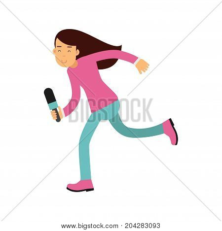 Brunette female reporter character runnung with a microphone, journalist doing report vector Illustration on a white background
