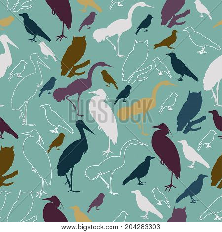 Seamless Pattern With Birds For Printing On Paper Or Fabric.