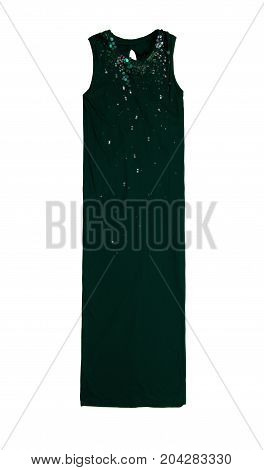 Long Elegant Green Jersey Dress With Silver And Green Sequins, Isolated On White Background