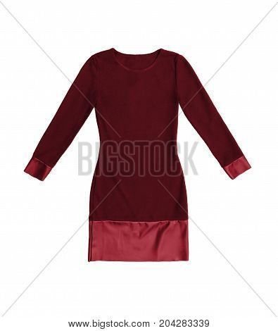 Red Short Jersey And Leather Party Dress With Long Sleeves, Isolated On White