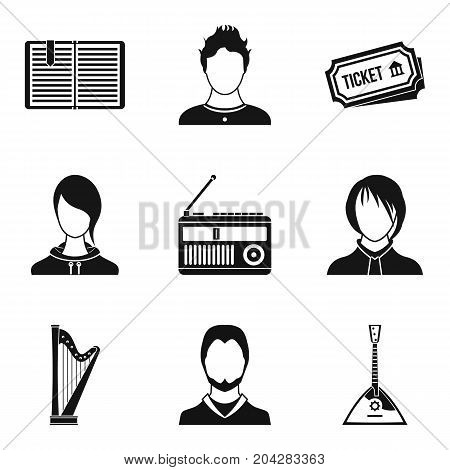 Musician icons set. Simple set of 9 musician vector icons for web isolated on white background