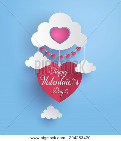 Concept of happy valentine daytext in a heart shape float on sky Paper art and craft style.