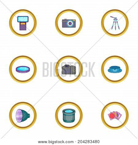 Photo shooting icons set. Cartoon style set of 9 photo shooting vector icons for web design