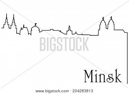 Minsk city one line drawing - abstract background with cityscape of European capitol