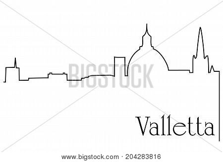 Valletta city one line drawing - abstract background with cityscape of European capitol