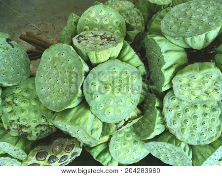 close up fresh green lotus seeds in market