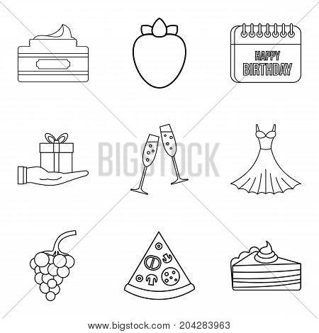 Celebratory evening icons set. Outline set of 9 celebratory evening vector icons for web isolated on white background