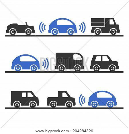 Self Driving Smart Car on the Road Set. Vector illustration