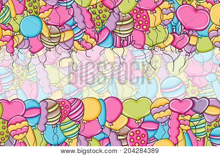 Balloons birthday and celebration concept in 3d cartoon doodles background design. Hand drawn colorful vector illustration.