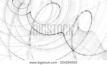 spiral particle background. Twist shape made of small random particle dots.
