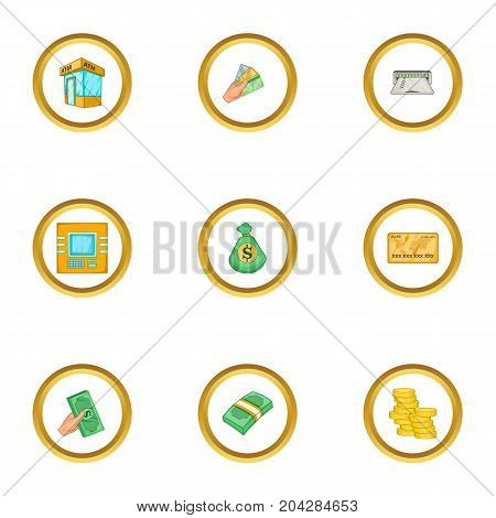 Wallet icons set. Cartoon style set of 9 wallet vector icons for web design