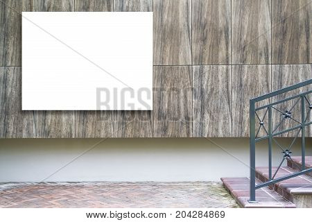 Mock up of large horizontal blank billboard outdoors, outdoor advertising, public information board on the wall