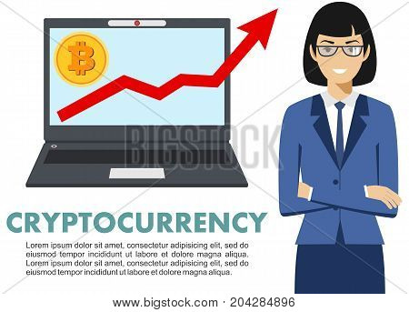 Businesswoman with computer. Bitcoin sign, digital currency, cryptocurrency, electronic money. Cryptocurrency concept. Bitcoin mining, exchange, mobile banking. Up graph with bitcoin sign, cryptocurrency in flat icon design in laptop.