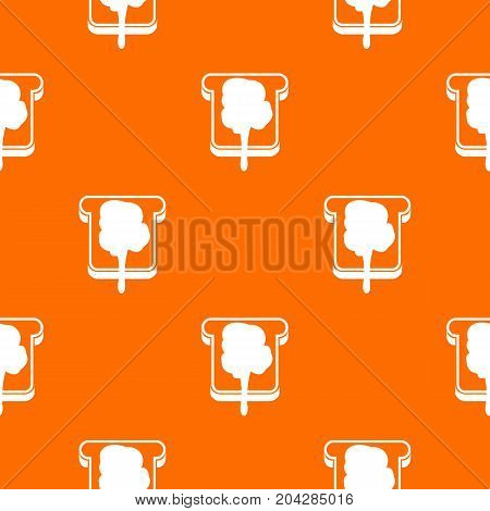 Bread pattern repeat seamless in orange color for any design. Vector geometric illustration