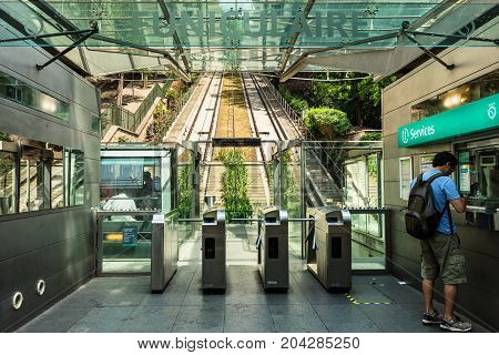Paris France - June 22 2017: The funicular to Basilica Sacre Coeur on a hill Montmartre slope.