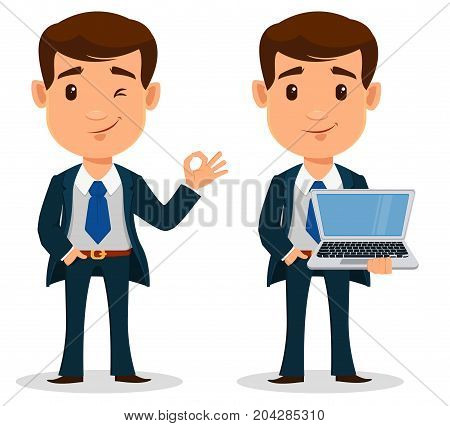Set of business man cartoon character in smart clothes office style. Young handsome businessman in suit holding laptop and showing ok gesture. Vector illustration.
