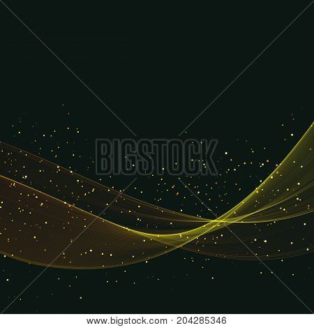 Abstract light background Transparent abstract waves on black background with gold sequins.