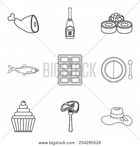 Table setting icons set. Outline set of 9 table setting vector icons for web isolated on white background