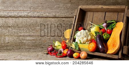 Fresh Organic Vegetables In Wood Crates On Wooden Floor With Copy Space. Concept Vegetables Fresh Fr