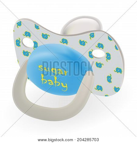 Orthodontic Baby s Dummy. Child Pacifier Or Nipple With Elephants Isolated On A White Background. Vector Illustration. Products For Children