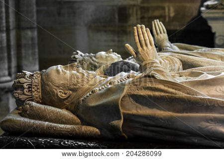 Saint-Denis France - July 02 2017: Tombs of Henry II of France and his wife Catherine de' Medici at the Basilica of Saint Denis (Basilique Saint-Denis). Medieval abbey where the kings of France and their families were buried is royal necropolis of France.