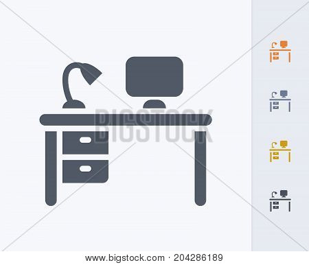Office Desk & Computer - Carbon Icons. A professional, pixel-perfect icon designed on a 32x32 pixel grid and redesigned on a 16x16 pixel grid for very small sizes