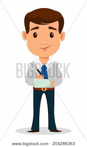 Business man cartoon character in smart clothes office style. Young handsome businessman whiting something to his notepad. Vector illustration.