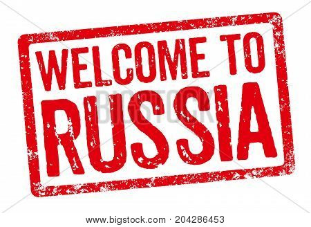Red Stamp On A White Background - Welcome To Russia