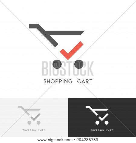 Shopping cart logo - trolley with red check mark or tick symbol. Store, shop, buying and purchase vector icon.