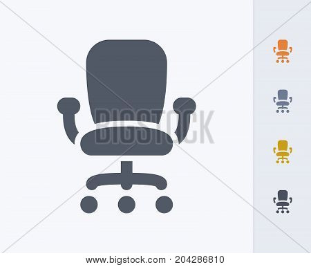 Office Rolling Chair - Carbon Icons. A professional, pixel-perfect icon designed on a 32x32 pixel grid and redesigned on a 16x16 pixel grid for very small sizes
