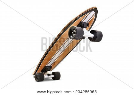 Black And Wooden Skate Board Isolated