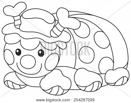 Black and white vector illustration of a small ladybird, a soft pillow for children